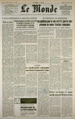 Le Monde, nº 7494, 15 février 1969, p. 1