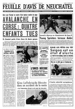 Feuille d'avis de Neuchâtel, nº 39, 17/02/1969, p. 1