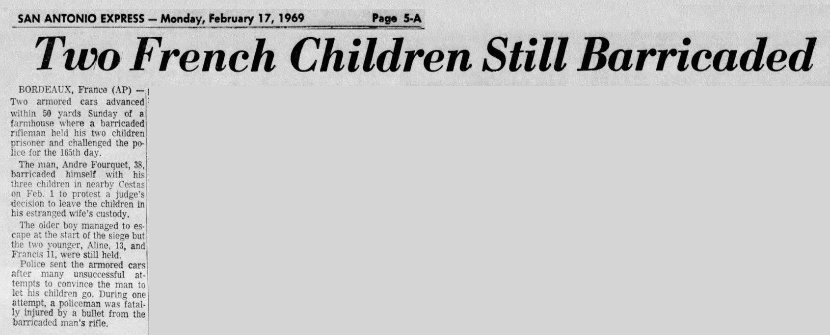 San Antonio Express, nº 106, 17 février 1969, p. 5-A
