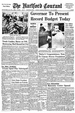 The Hartford Courant, vol. CXXXII, nº 49, 18/02/1969, p. 1