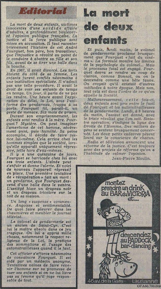 Tribune de Lausanne – Le Matin, nº 50, 19/02/1969, p. 1