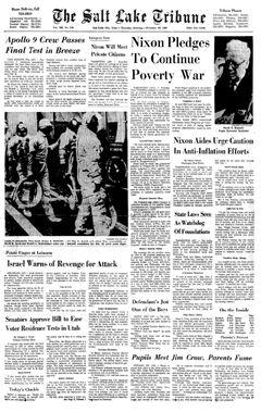 The Salt Lake Tribune, vol. 198, nº 129, 20/02/1969, p. 1