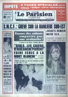 Le Parisien libéré, nº 7614, 21/02/1969, p. 1