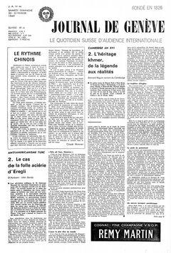 Journal de Genève, nº 44, 22 février 1969, p. 1