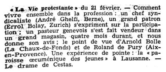 Journal de Genève, nº 44, 22 février 1969, p. 27