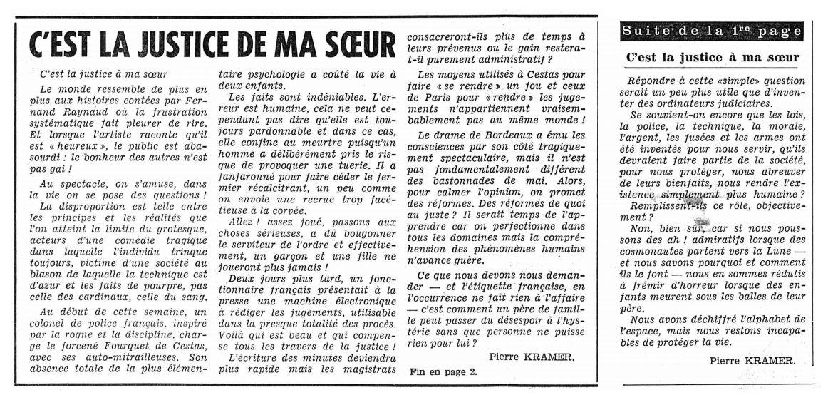 L'Impartial, nº 27964, 22 février 1969, pp. 1-2