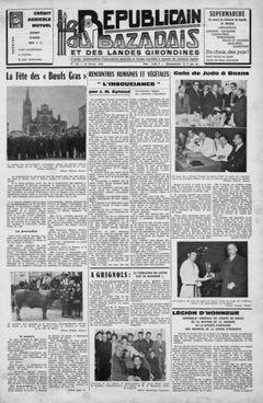 Le Républicain du Bazadais et des Landes girondines, nº 156, 22 février 1969, p. 1