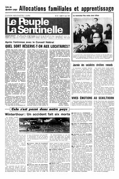 Le Peuple – La Sentinelle, nº 61, 17/03/1969, p. 1