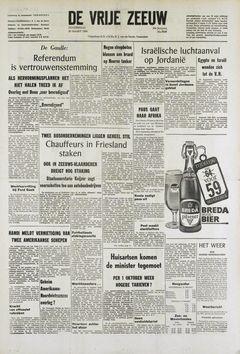 De Vrije Zeeuw, nº 5946, 20/03/1969, p. 1