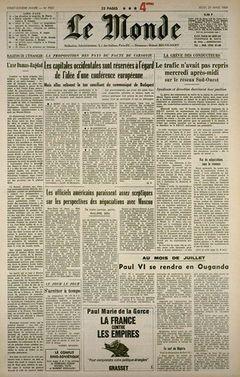 Le Monde, nº 7521, 20 mars 1969, p. 1