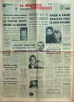 La Nouvelle République du Centre-Ouest, 13/02/1969, n° 7423, p. 1