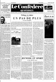 Le Confédéré quotidien, n° 37, 14 février 1969, p. 1