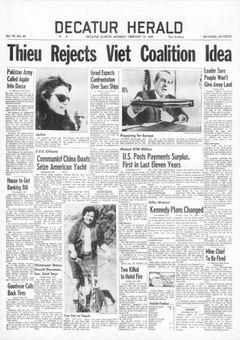 Decatur Herald, vol. 90, nº 40, 17 février 1969, p. 1