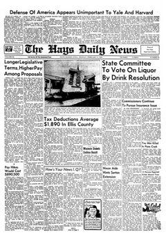 The Hays Daily News, vol. XL, nº 85, 17 février 1969, p. 1