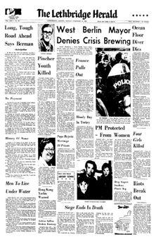 The Lethbridge Herald, vol. LXII, nº 56, 17 février 1969, p. 1
