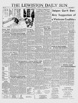The Lewiston Daily Sun, vol. 76, 17 février 1969, p. 1