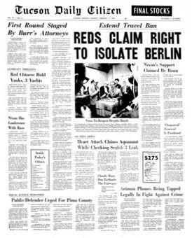 Tucson Daily Citizen, vol. 99, nº 41, 17 février 1969, p. 1