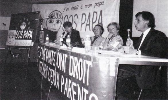 Geneviève Delaisi, Guy Desplanques, Christiane Olivier, Jean-Pierre Cuny, colloque du troisième congrès SOS PAPA, Paris, 11 juin 1994 (© SOS PAPA)