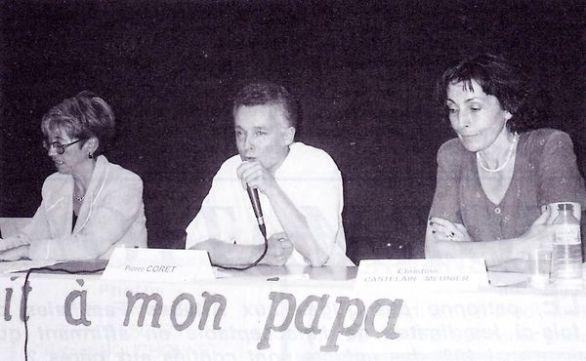 Me Pascaline Saint-Arroman-Petroff (avocat), Pierre Coret (psychiatre) et Christine Castelain-Meunier (sociologue au CNRS), colloque du cinquième congrès SOS PAPA à Paris, 8 juin 1996 (© SOS PAPA)