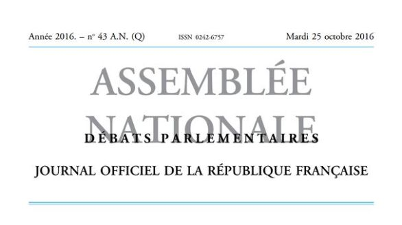 Journal officiel de la République française, édition « Débats parlementaires – Assemblée nationale », nº 43 AN (Q), 25 octobre 2016