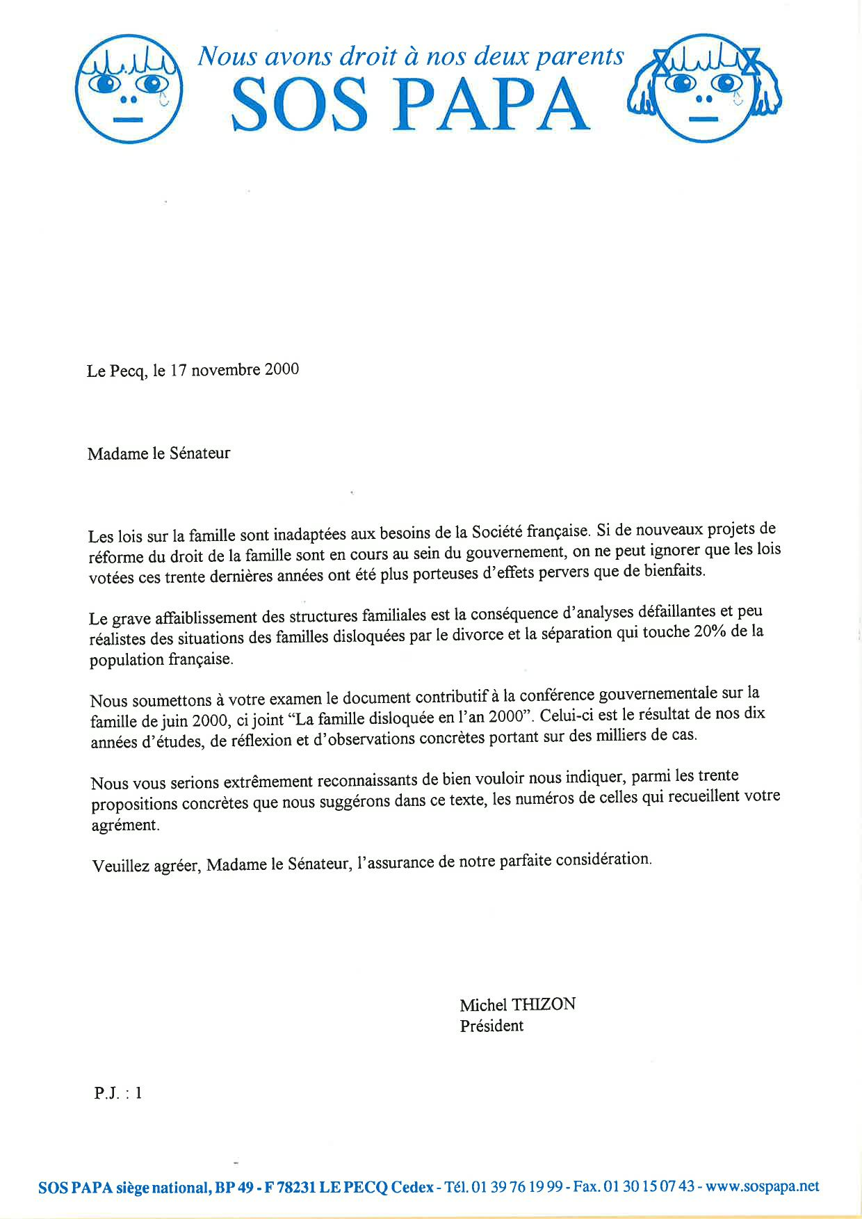 Courrier de Michel Thizon aux sénateurs, 17/11/2000