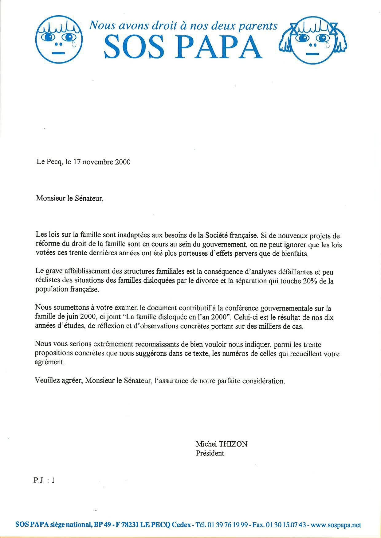 Courrier de Michel Thizon, 17/11/2000