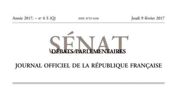 Journal officiel de la République française, édition « Débats parlementaires – Sénat », nº 6 S (Q), 9 février 2017