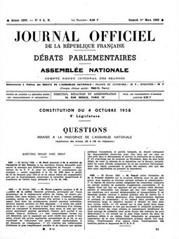 Journal officiel de la République française (Débats parlementaires – Assemblée nationale), nº 9, 1er mars 1969, p. 477