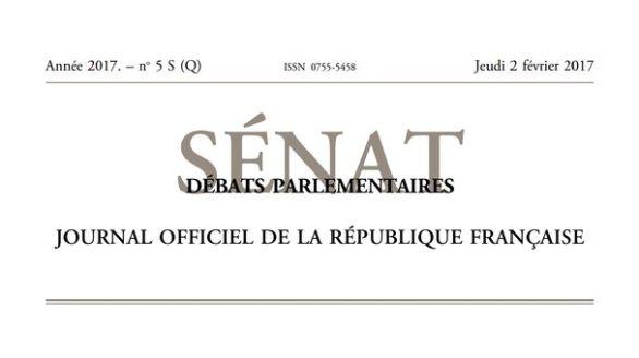 Journal officiel de la République française, édition Débats parlementaires – Sénat, nº 5 S (Q), 2 février 2017