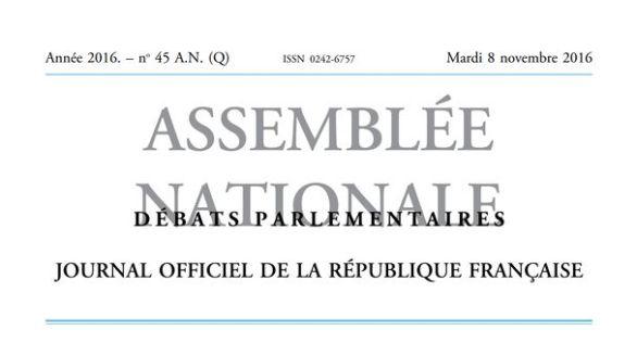 Journal officiel de la République française, édition « Débats parlementaires – Assemblée nationale », nº 45 AN (Q), 8 novembre 2016