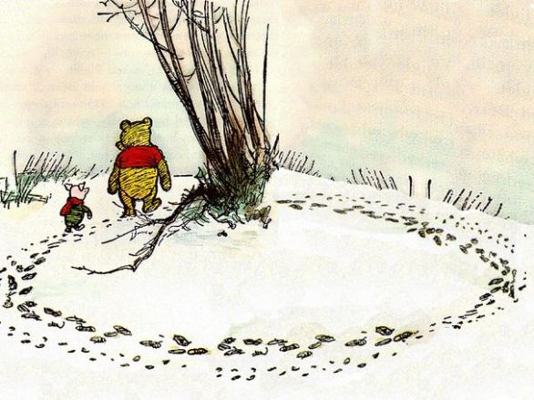 Winnie-the-Pooh and Piglet go hunting a Woozle