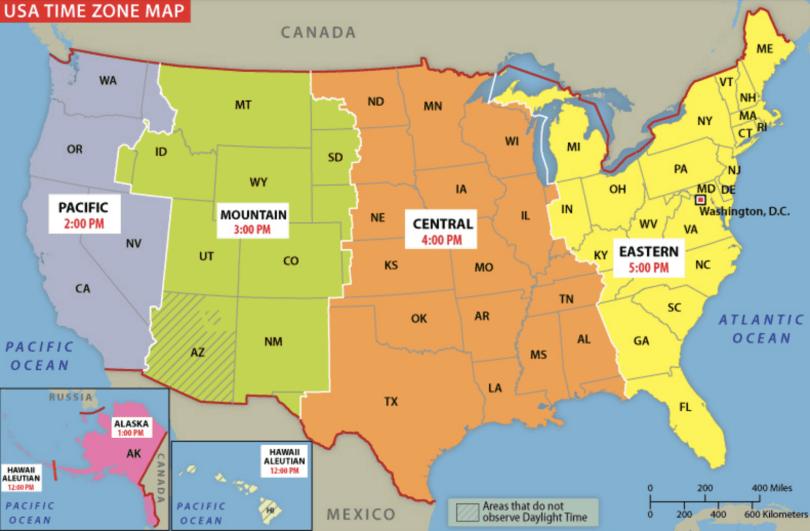 """Mapa mostrando todos os fusos dos Estados Unidos. A resposta para a pergunta """"Que horas São nos EUA"""" nao é tão simples assim!"""