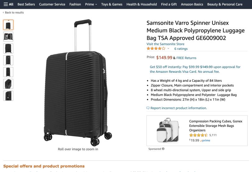 Print da Amazon.com com preço de modelo de mala da samsonite para comprar e receber em Orlando: US$ 149,99 dólares