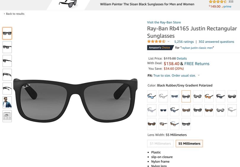 Print da Amazon.com com preço do Ray-Ban Clássico: US$ 138,40
