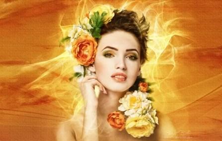 belle femme fleurs