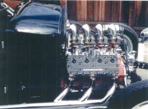 """Maurice """"Topper"""" Chasse's black 1929 Ford Model A hot rod"""