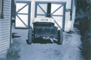 """Maurice """"Topper"""" Chasse chopped '27 T roadster pickup on an A frame"""