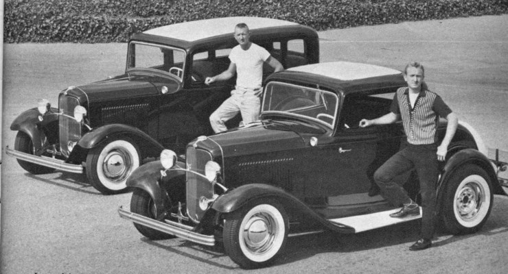 Banker brothers' '32 Ford 3-window coupe and Fordor sedan