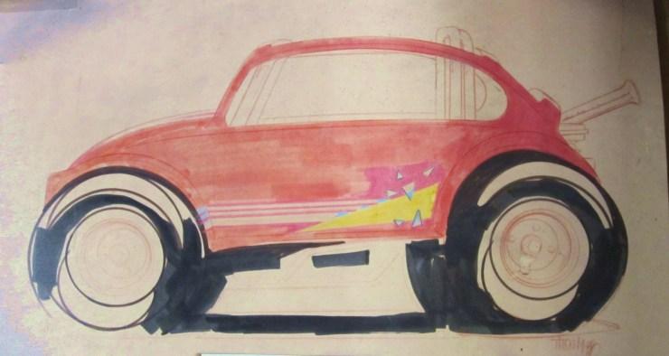 Bill and Pat Ganahl 1985 VW Bug go-kart sketch