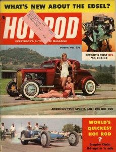 John Geraghty-built Lloyd Bakan Hemi-powered '32 3-window October '57 Hot Rod magazine cover