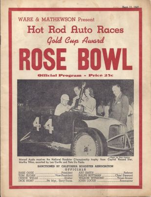 Manny Ayulo on cover of 1947 Rose Bowl Gold Cup Award program