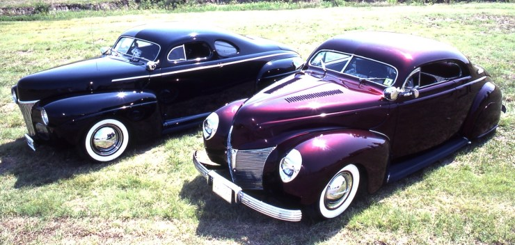 "Mickey Ellis' custom '40 Merc ""hardtop"" and Larry Purcell's custom '41 Ford"
