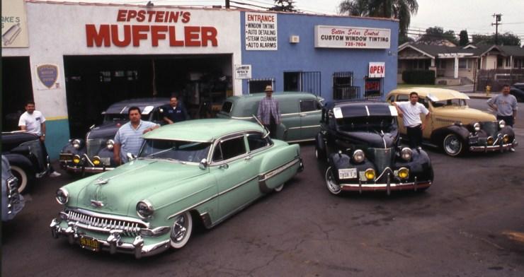 Joe Epstein's muffler shop with lowriders