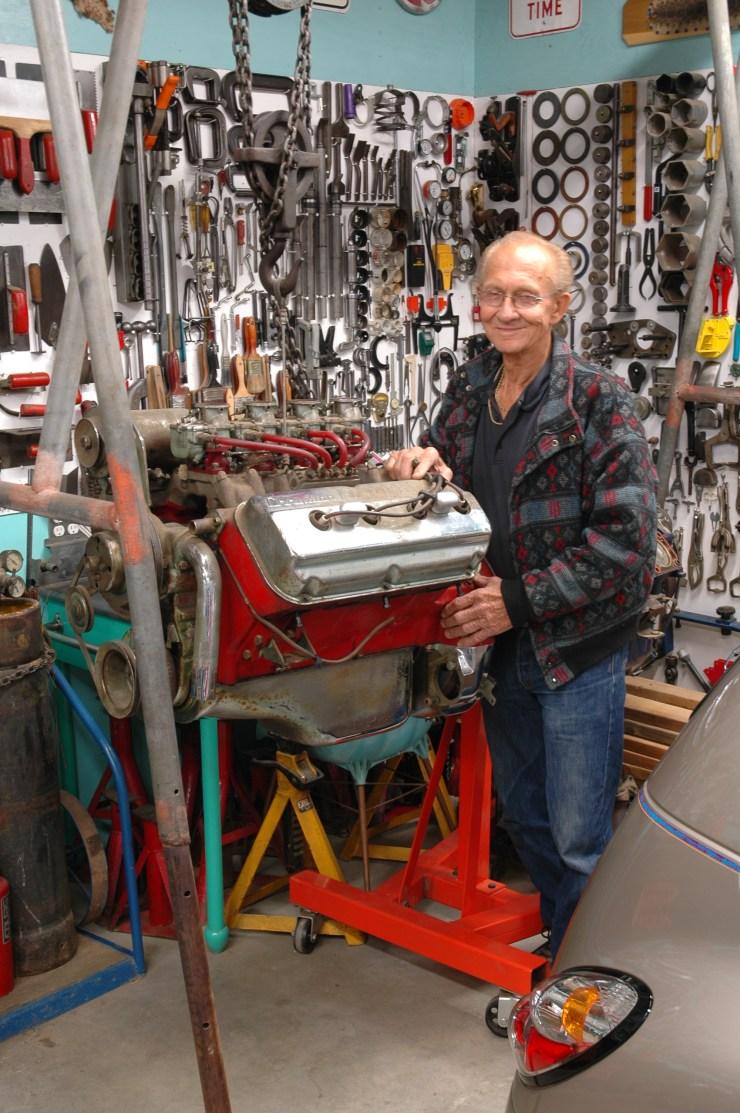 Jim Griepsma in his garage