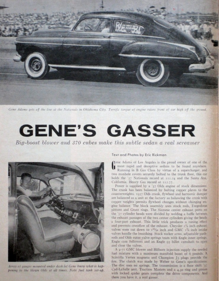 Gene Adams' '50 Olds fastback in Hot Rod Magazine