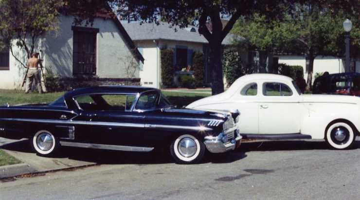Tom Connors' '40 standard coupe and Chevy Impala