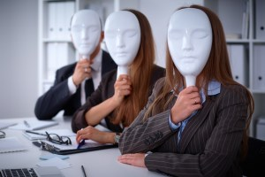 Group of business people at meeting. Business people hide their emotions under the mask of confidence during the negotiations , business concept