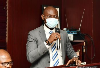 Station Manager, Lufthansa German Airlines, Dr Sanni Adewale giving his speech as a discussant on the topic Emmerging realities in the aviation industry: Dealing with the current tides at the 1st Memorial Lecture in honour of Mr Job Obinna Onyeukwu Onyenso