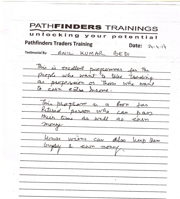 Testimonial By Mr. Anilkumar Bedi – Student Pathfinders Traders Training April14 Thane Batch