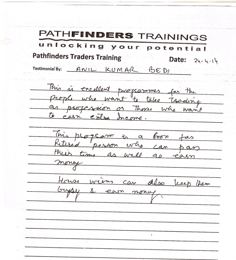 Testimonial By Mr. Anilkumar Bedi – Student Pathfinders Traders Training April14 Thane Batch